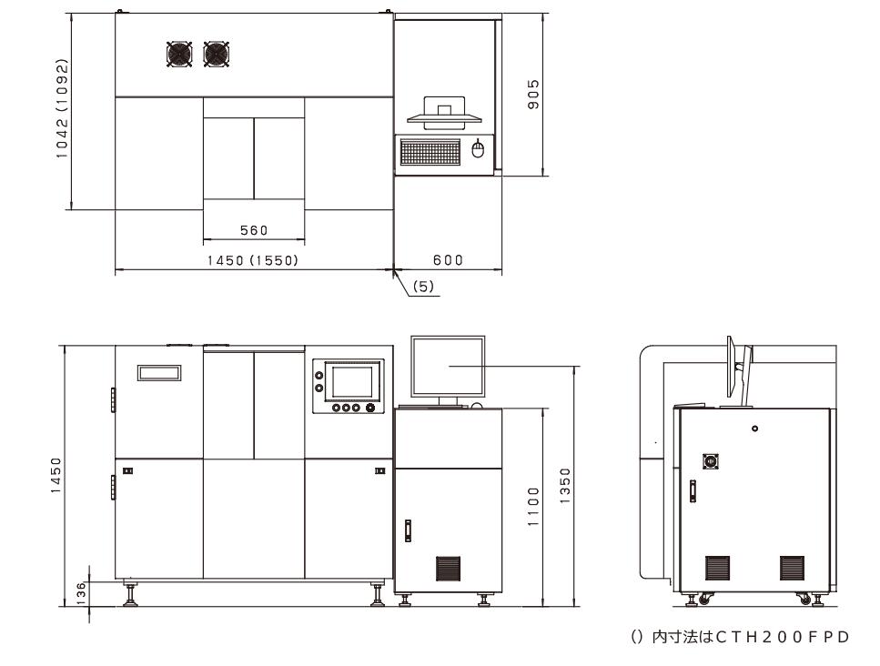 工業用X線検査装置 CT150/160FPD外形寸法図・仕様